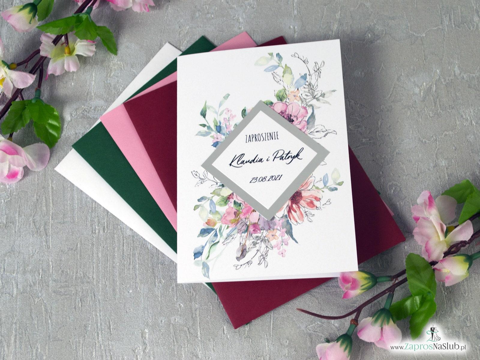 Zaproszenie ślubne bez wstążki z różowymi kwiatami i konturami. Srebrny romb. ZAP-129 ZaprosNaSlub