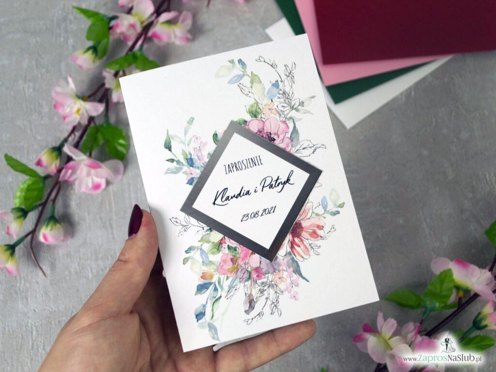 Zaproszenie ślubne ze srebrnym papierem z efektem lustra i kwiatami ZAP-129