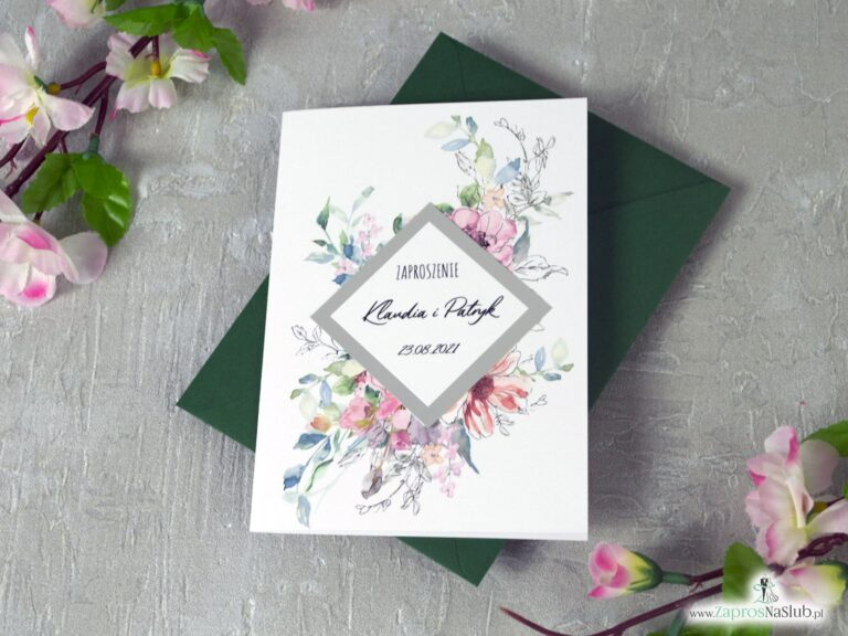 Zaproszenie na ślub z różowymi kwiatkami i rombem z efektem lustra. ZAP-129