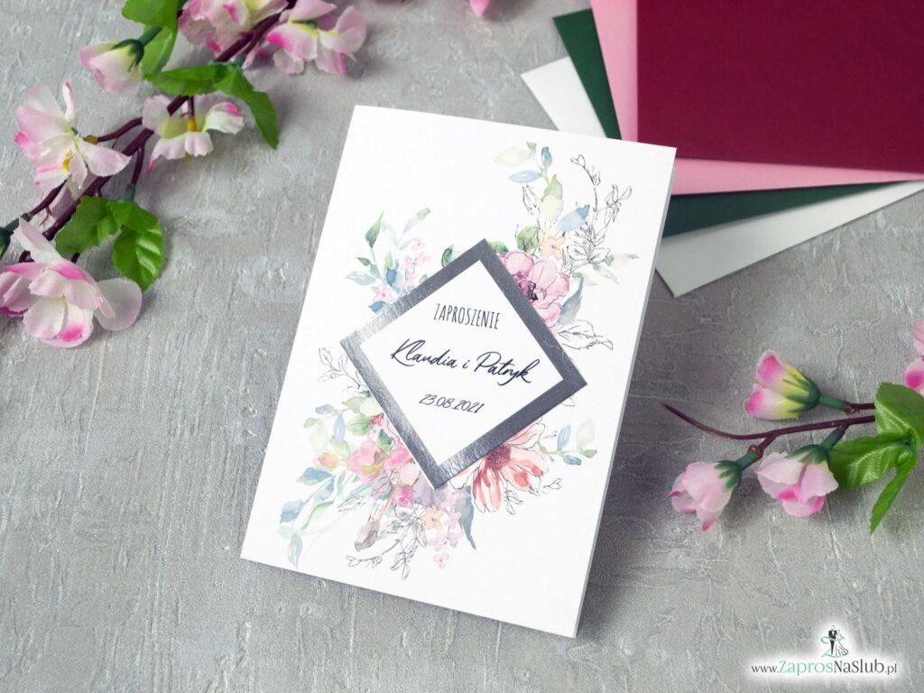 Zaproszenie ślubne z różowymi kwiatami, konturami i motywem z efektem lustra ZAP-129
