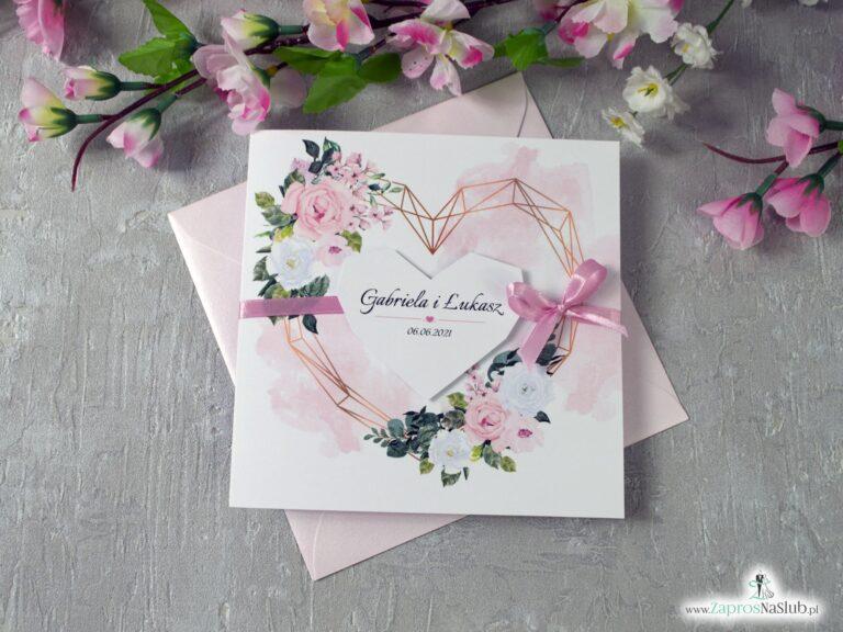 Zaproszenia ślubne z kwiatami w delikatnych odcieniach różu i bieli oraz geometrycznym sercem. ZAP-41-12 - ZaprosNaSlub