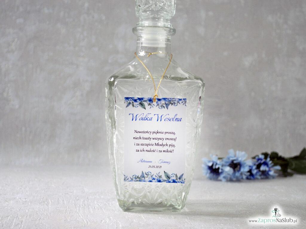 Zawieszka na alkohol, niebieskie kwiaty, złoty sznurek, modna-min