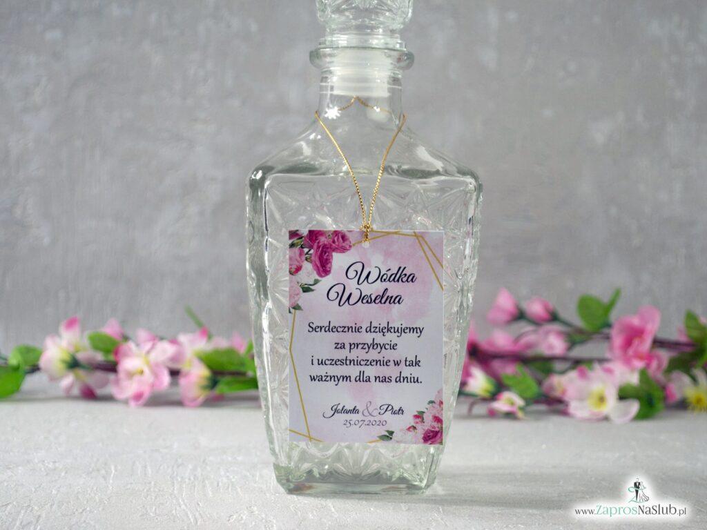 Zawieszka na alkohol z różowymi kwiatami i złotymi geometrycznymi liniami ZAW-131