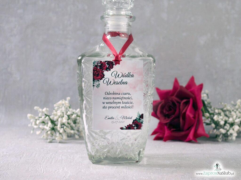 Zawieszki na alkohol z czerwonymi różami, kwiatowe ZAW-41-09
