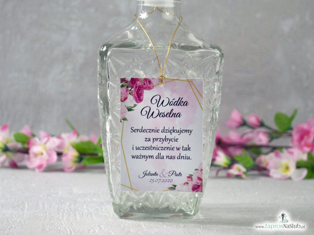 Zawieszki na alkohol z geometrycznymi liniami i różowymi kwiatami w różnych odcieniach ZAW-131