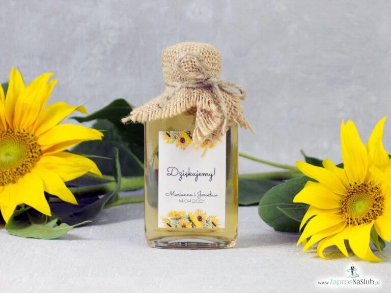 Buteleczka na nalewkę – słoneczniki, w stylu rustykalnym eko 100ml - ZaprosNaSlub