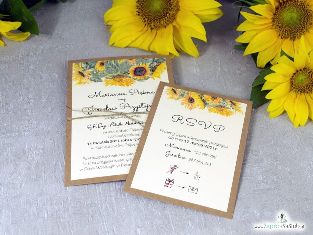 Dwuczęściowe zaproszenie ślubne ze słonecznikami na papierze eko ZAP-133-1