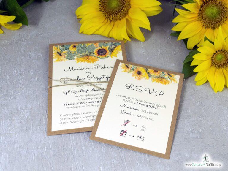 Zaproszenie ślubne ze słonecznikami w stylu rustykalnym na papierze eko. ZAP-133-1 - ZaprosNaSlub