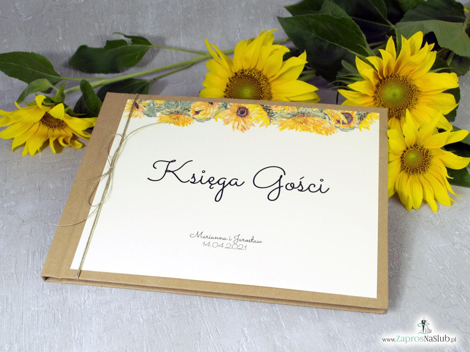 Księga gości - słoneczniki na eko w stylu rustykalnym. KSG-133