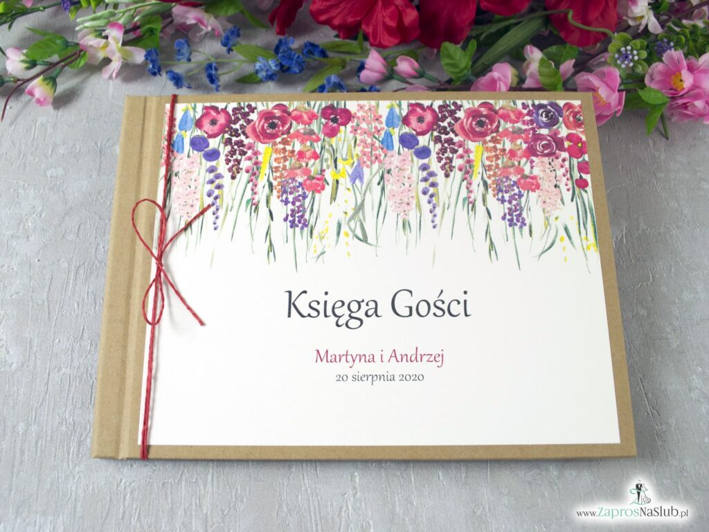 Księga gości eko z polnymi kwiatami w różnych odcieniach. Rustykalna KSG-35-01