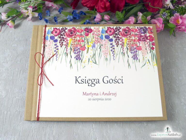 Księga gości eko z polnymi kwiatami w różnych odcieniach. KSG-35-01 - ZaprosNaSlub