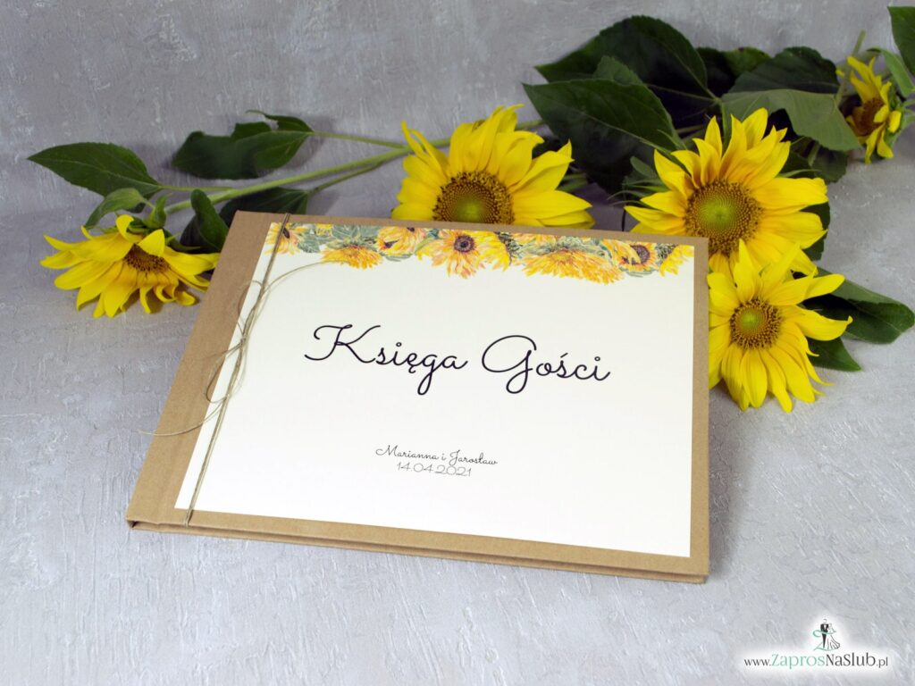 Księga gości weselnych słoneczniki, okładka eko KSG-133