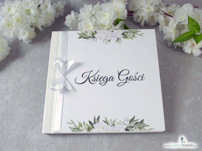 ZaprosNaSlub - Zaproszenia ślubne, personalizowane, boho, rustykalne, kwiatowe księga gości, zawieszki na alkohol, winietki, koperty, plany stołów - Księga gości z białymi kwiatami i zielonymi liśćmi. KSG-127