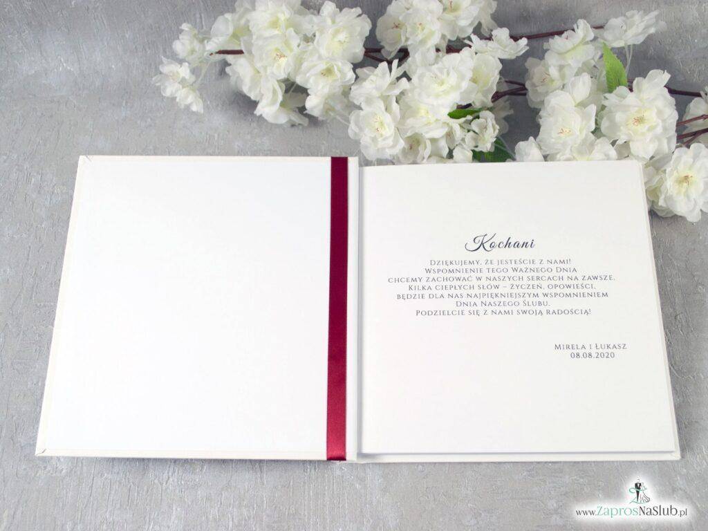 Księga gości z czerwonymi kwiatami i zielonymi liśćmi, białe maki KSG-38-01