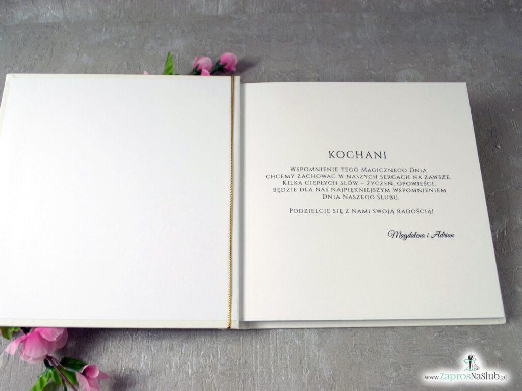 Księga gości z delikatnymi różowymi kwiatami i geometrycznymi liniami