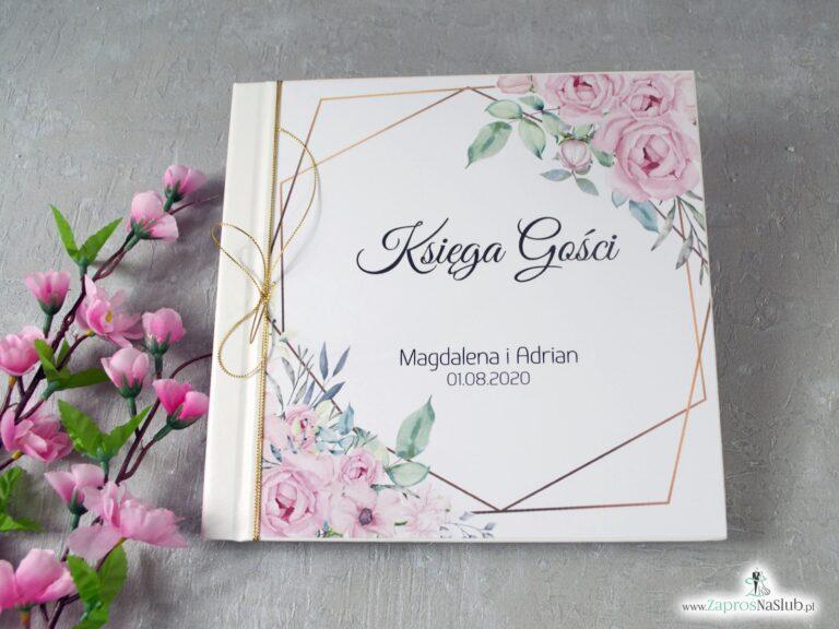 Księga gości z delikatnymi różowymi kwiatami i geometrycznymi liniami KSG-132