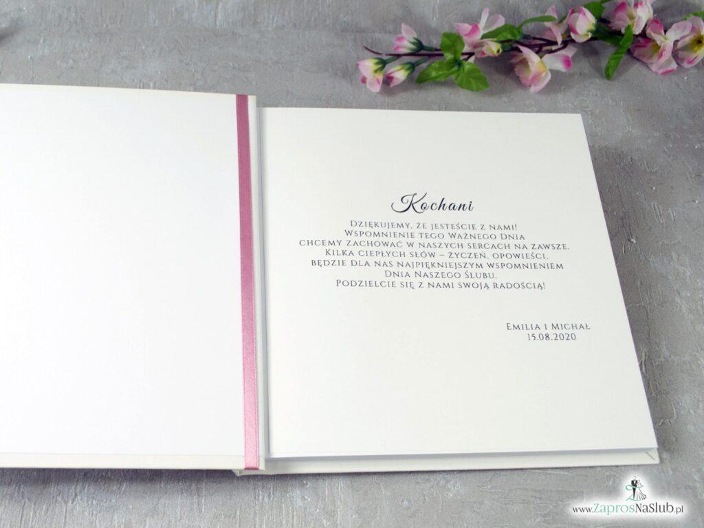 Księga gości z geometrycznym sercem i różowymi kwiatami KSG-41-23