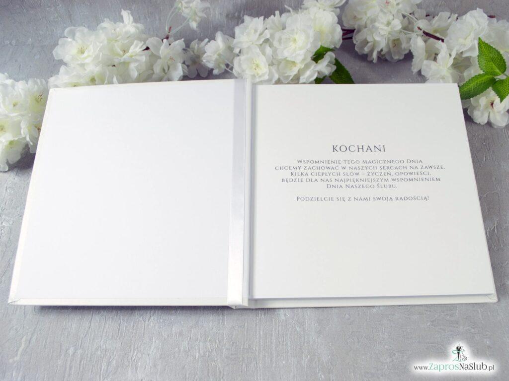 Księga gości z zielonymi liśćmi i białymi kwiatami, rustykalna KSG-127
