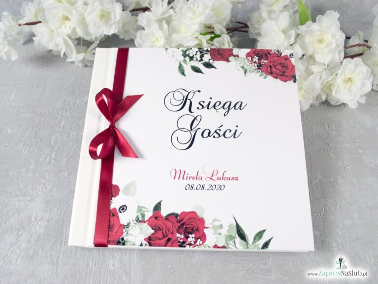 Księga gości z czerwonymi różami i białymi makami. KSG-38-01 - ZaprosNaSlub