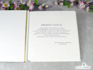 Księga gości z różowymi kwiatami i złotymi liniami. KSG-131
