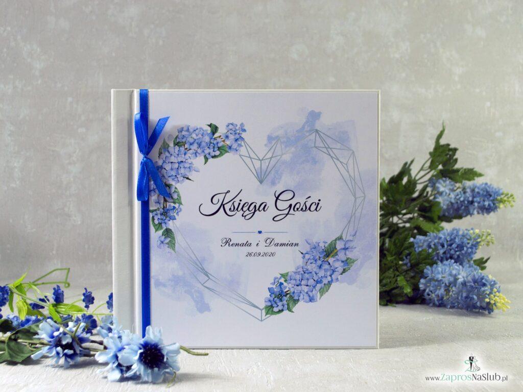 Księga gości z niebieskimi kwiatami hortensji i geometrycznym sercem KSG-41-11