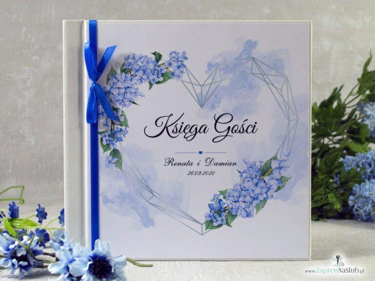 Księga gości – niebieskie hortensje i geometryczne serce. KSG-41-11 - ZaprosNaSlub