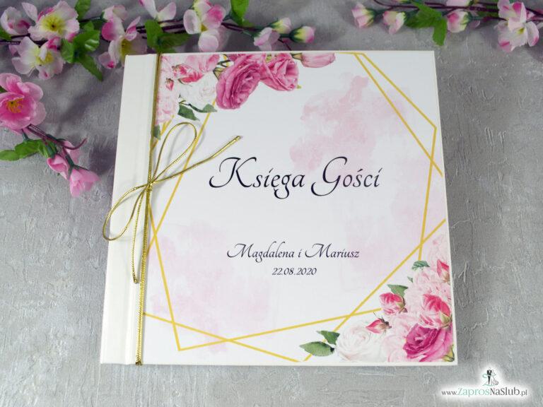 Księga gości z różowymi kwiatami i złotymi liniami KSG-132