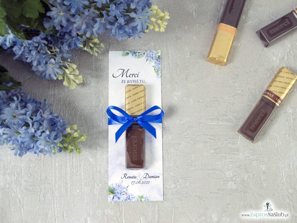 Merci podziękowanie dla gości z niebieskimi kwiatami hortensji MER-41-11
