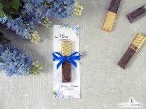 Podziękowanie dla gości weselnych Merci - podkładka z niebieskimi kwiatami hortensji. MER-41-11