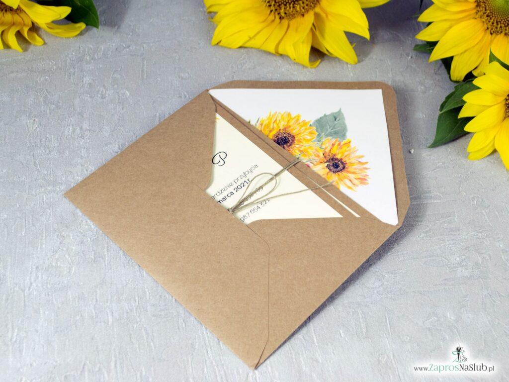 Modne rustykalne zaproszenia ślubne na papierze eko ze słonecznikami ZAP-133-2