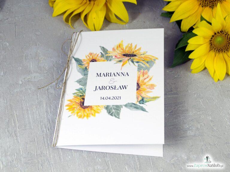 Modne zaproszenia ślubne kwiaty słonecznika ZAP-133