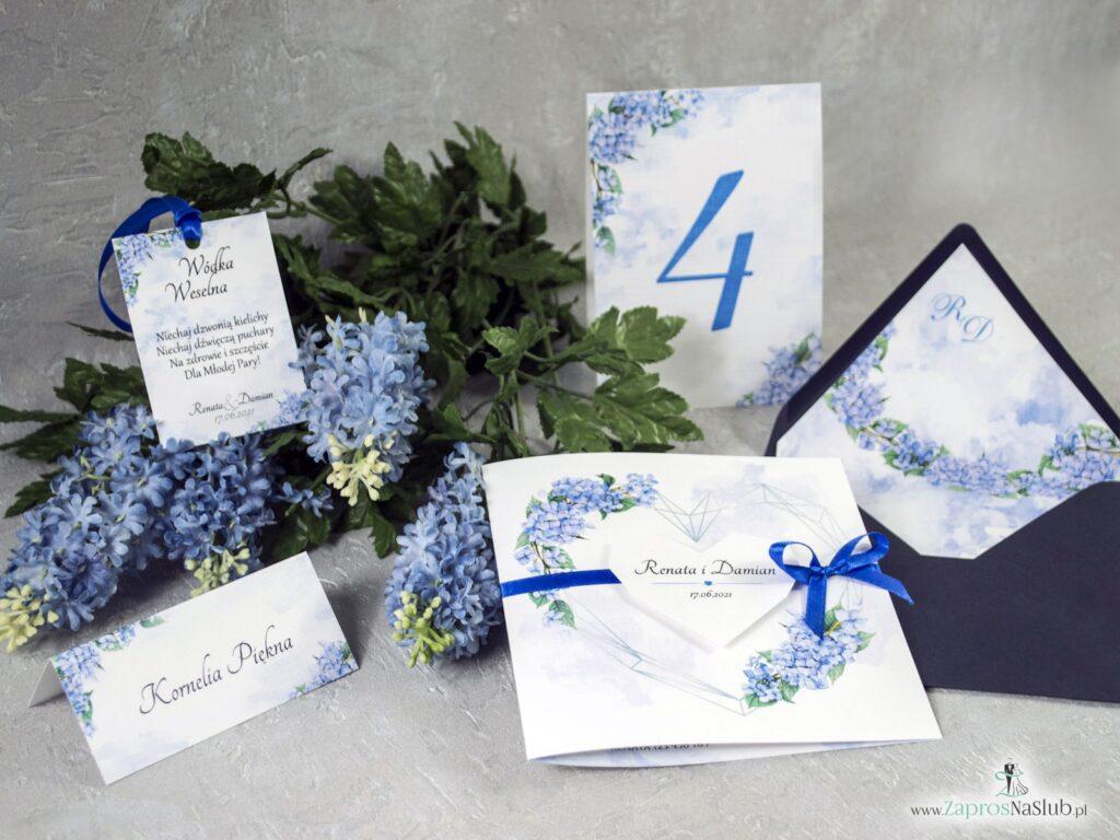 Niebieskie hortensje zaproszenia ślubne, winietki, zawieszki, dodatki ZAP-41-11
