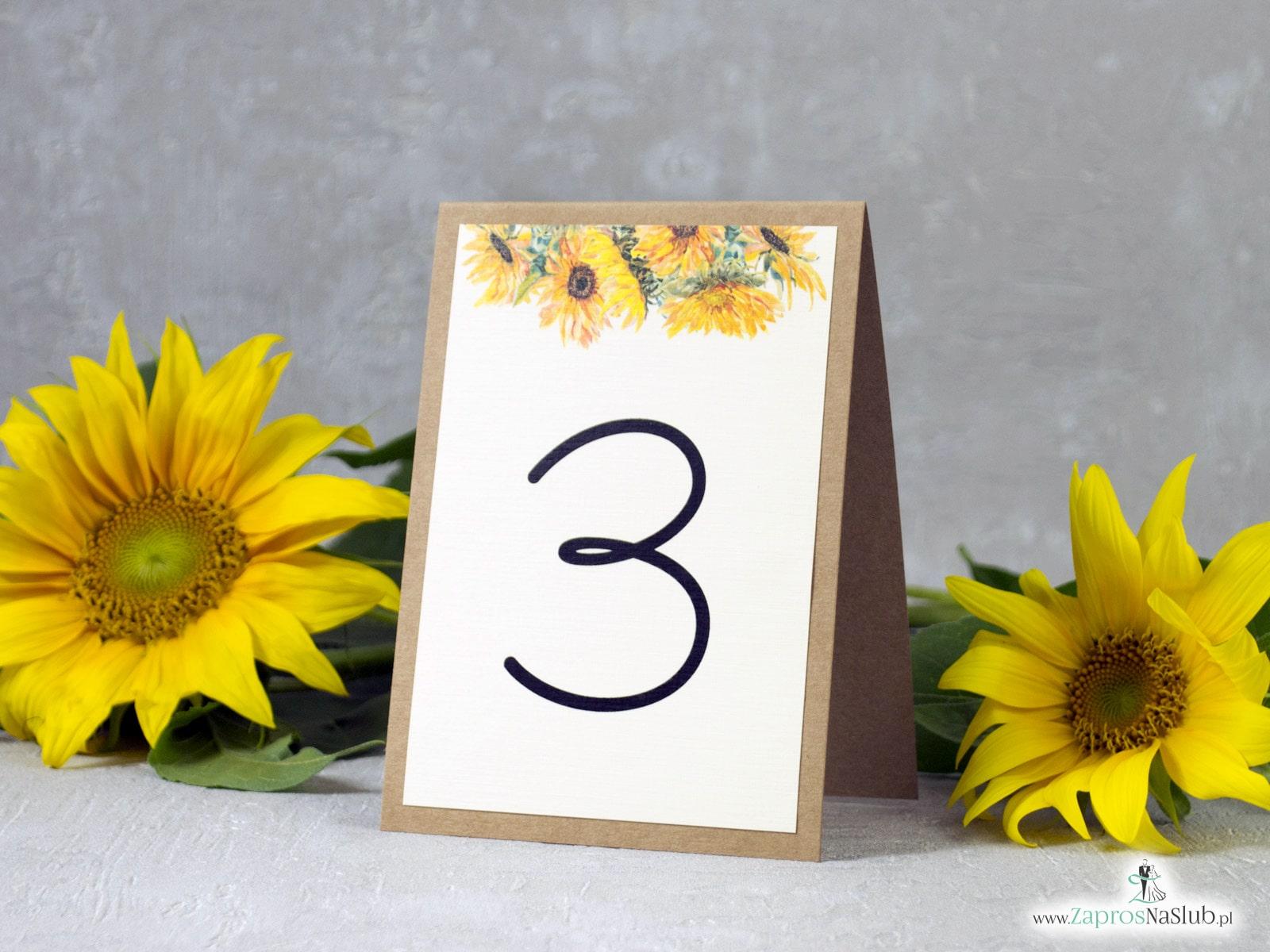 Numer na stół słoneczniki. NNS-133 - Zaproszenia ślubne ZaprosNaSlub