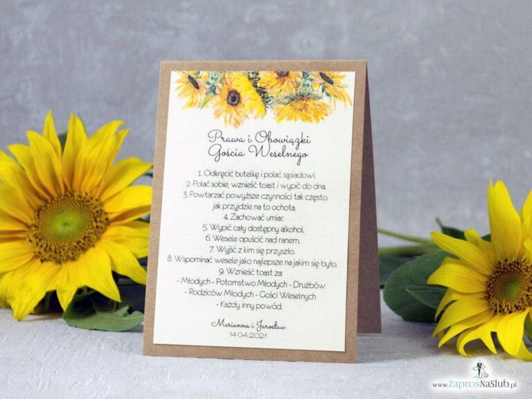 Obowiązki gościa weselnego słoneczniki eko PiOGW-133