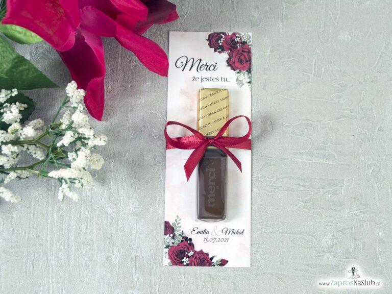 Podziękowanie dla gości weselnych w formie podkładki pod Merci z czerwonymi różami. MER-41-09 - ZaprosNaSlub
