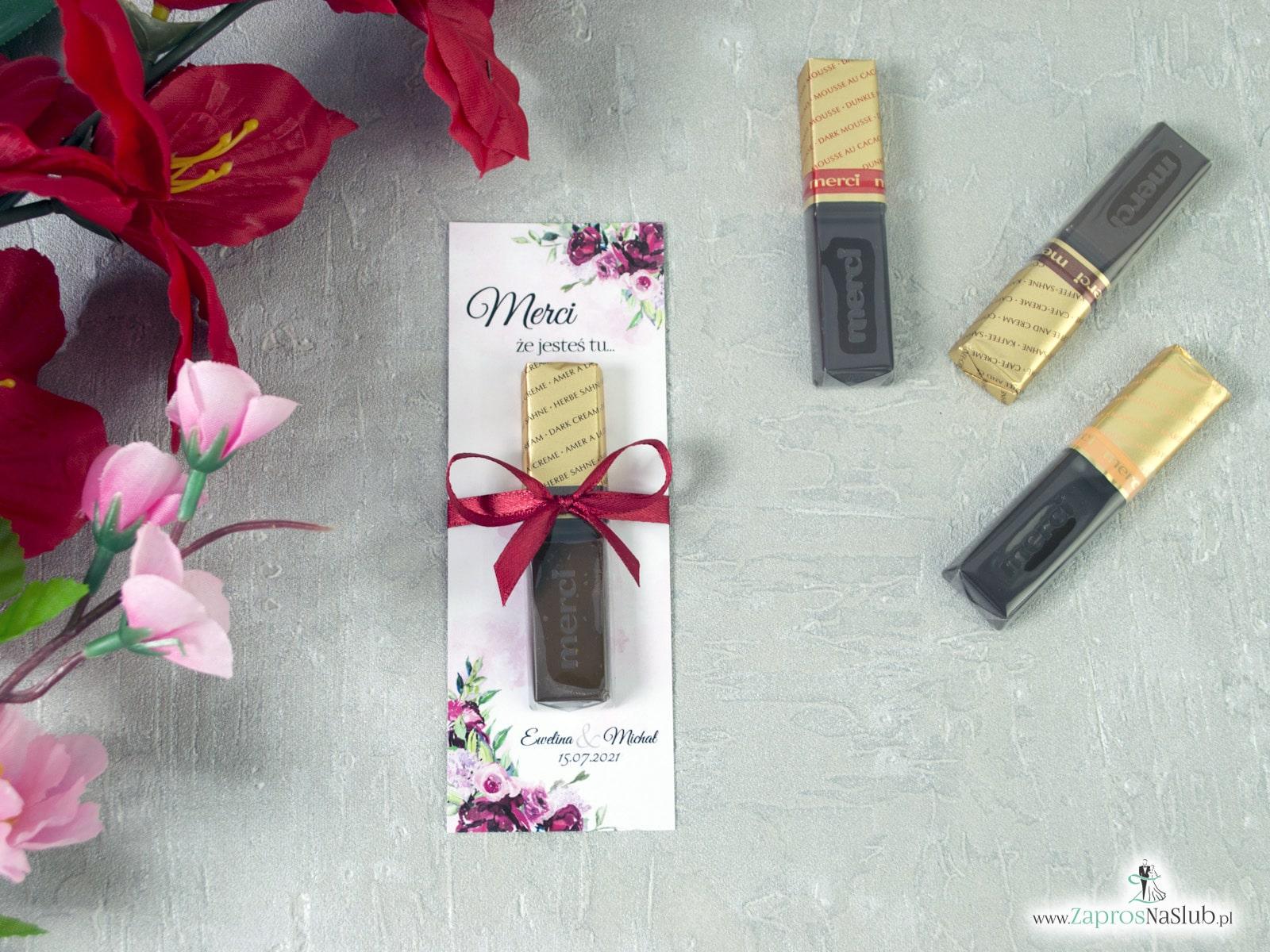 Podziękowanie dla gości weselnych Merci - podkładka z kwiatami piwonii. MER-41-08