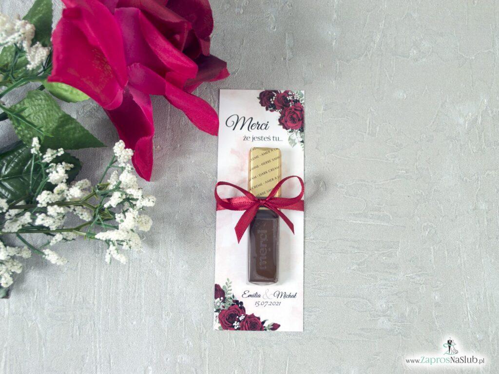 Podkładka pod merci z kwiatami róży, podziękowanie dla gości MER-41-09
