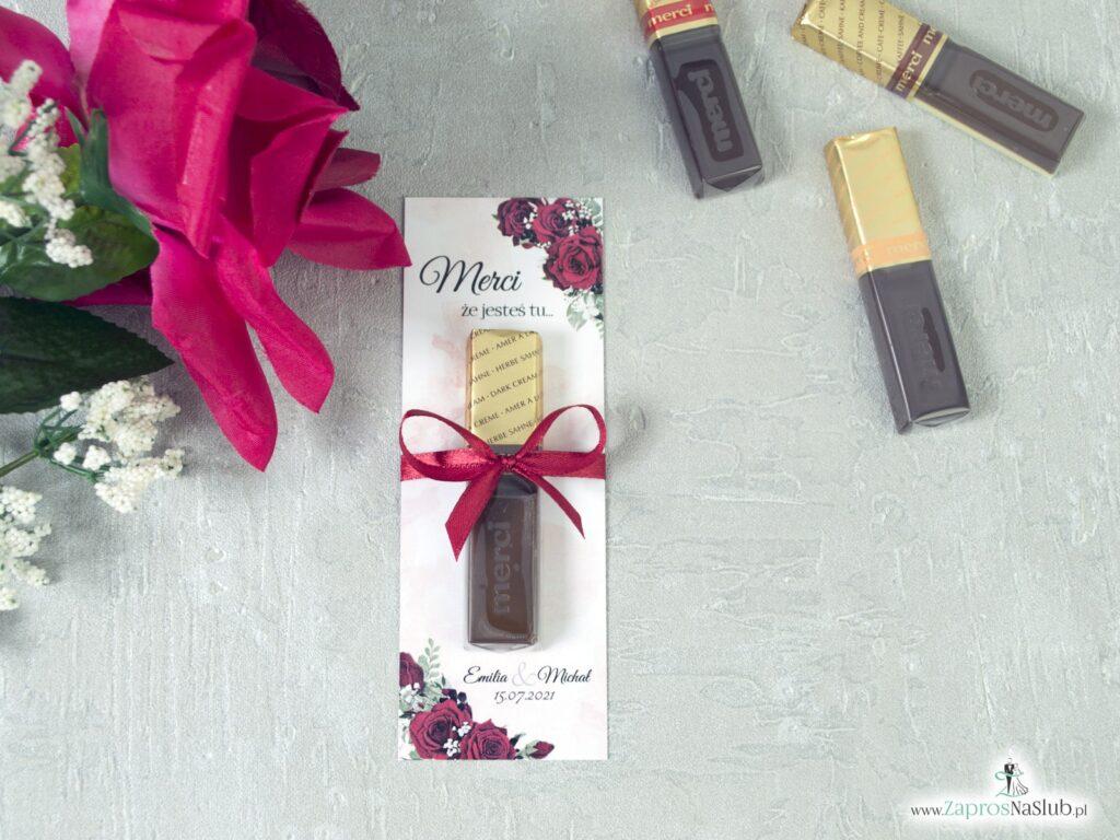 Podziękowanie dla gości merci z czerwonymi różami MER-41-09