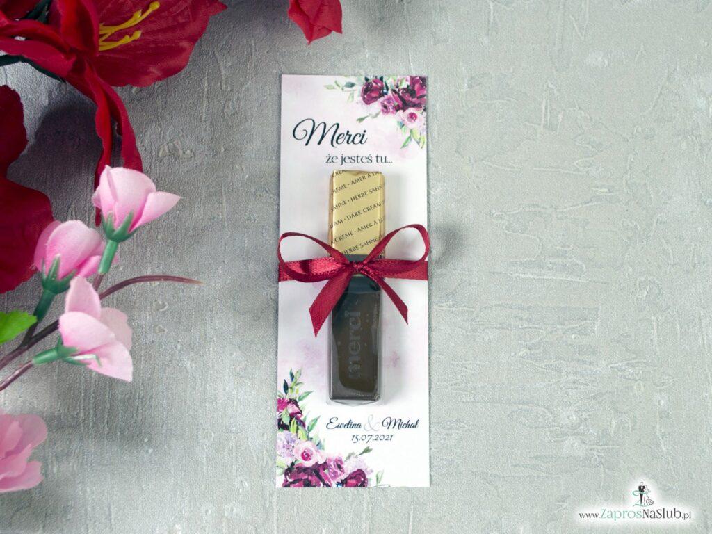 Podziękowanie dla gości merci z kwiatami piwonii MER-41-08