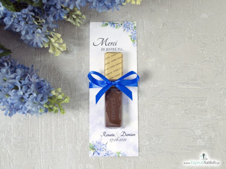 Podziękowanie dla gości weselnych Merci – podkładka z niebieskimi kwiatami hortensji. MER-41-11 - ZaprosNaSlub