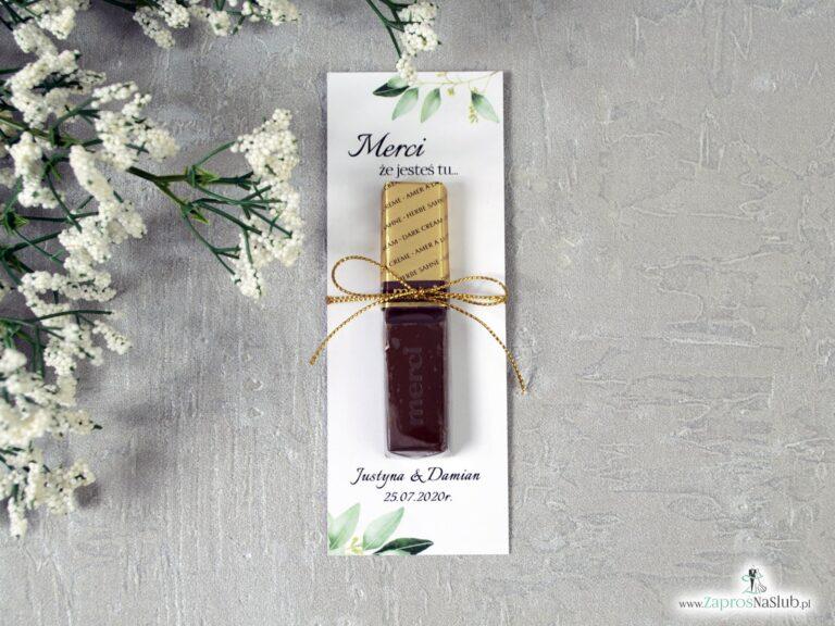 Podziękowanie dla gości weselnych Merci z zielonymi liśćmi – podkładka. MER-115 - ZaprosNaSlub