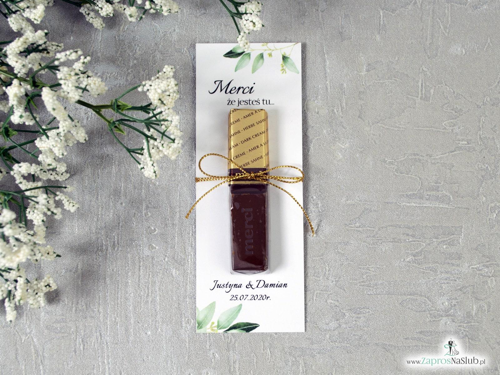 Podziękowanie dla gości weselnych Merci z zielonymi liśćmi - podkładka. MER-115