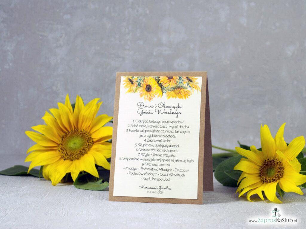Prawa i obowiązki gościa weselnego słoneczniki PiOGW-133