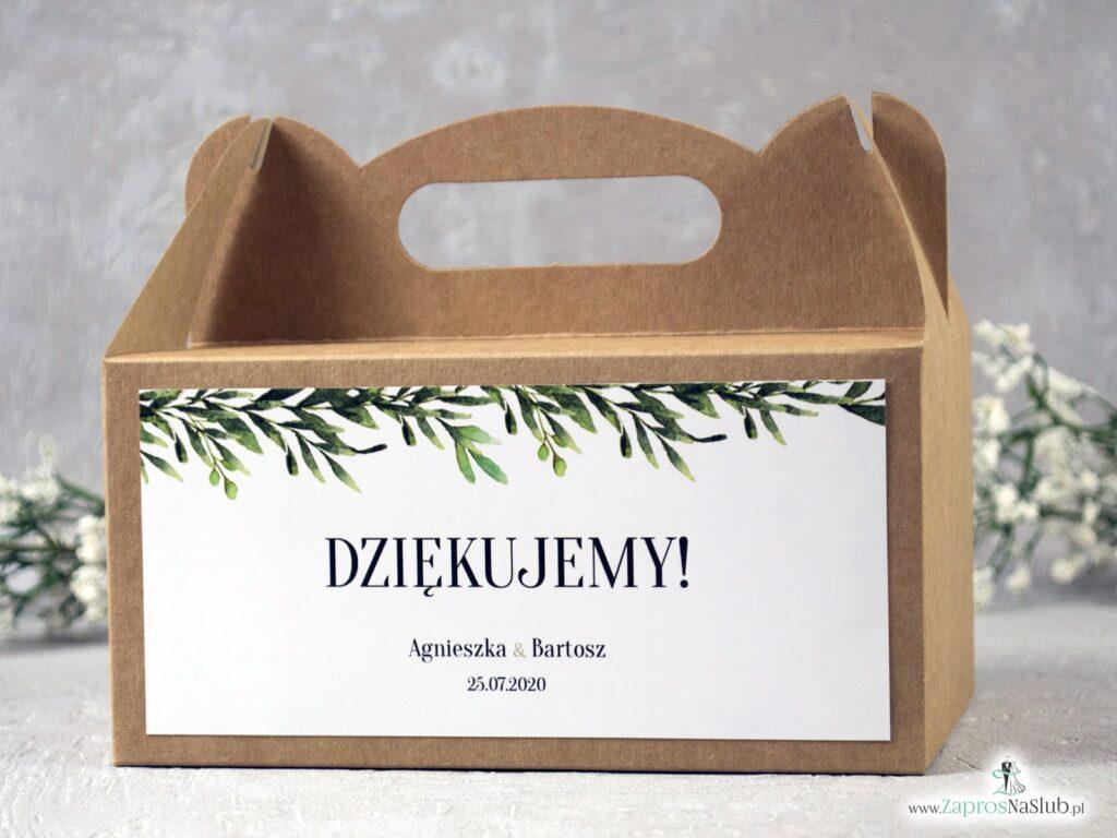 Pudełko na ciasto eko z zielonymi liśćmi w stylu rustykalnym PNC-111
