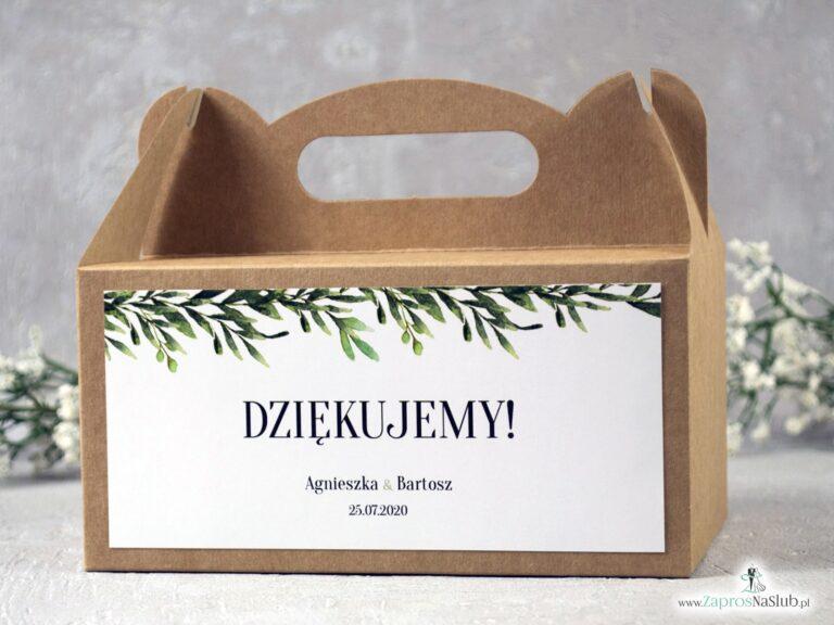 Pudełko na ciasto eko z zielonymi liśćmi w stylu rustykalnym. PNC-111 - ZaprosNaSlub