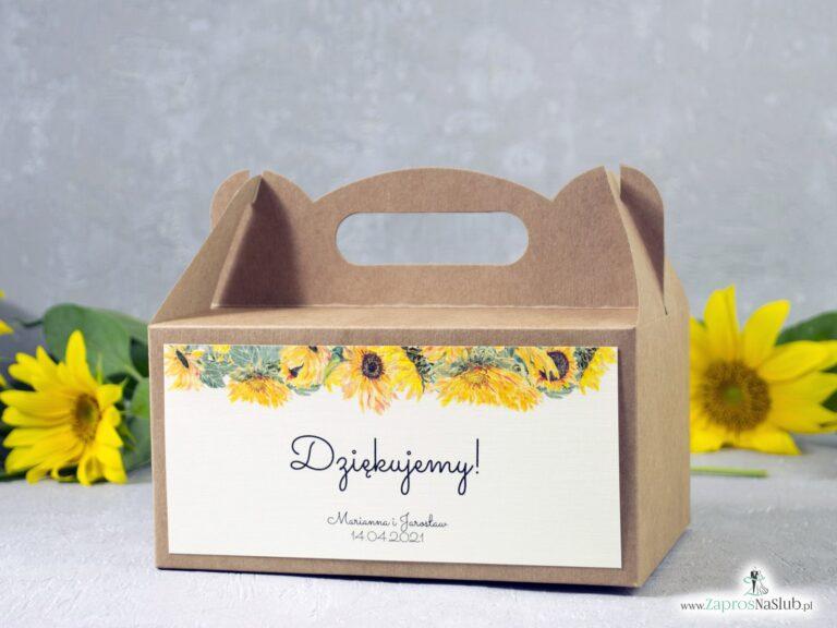 Pudełko na ciasto eko ze słonecznikami. PDC-133 - ZaprosNaSlub