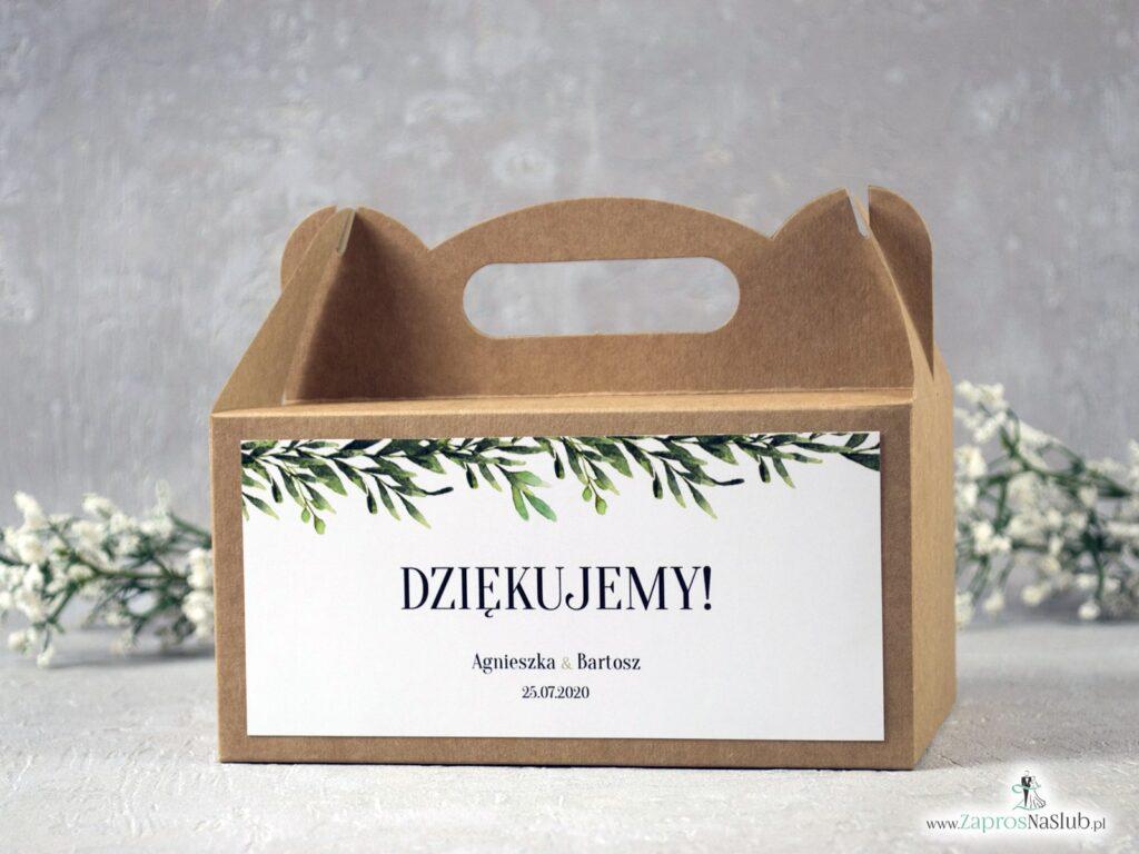 Pudełko na ciasto, podziękowanie dla gości z papieru eko z liśćmi w rustykalnym stylu PNC-111