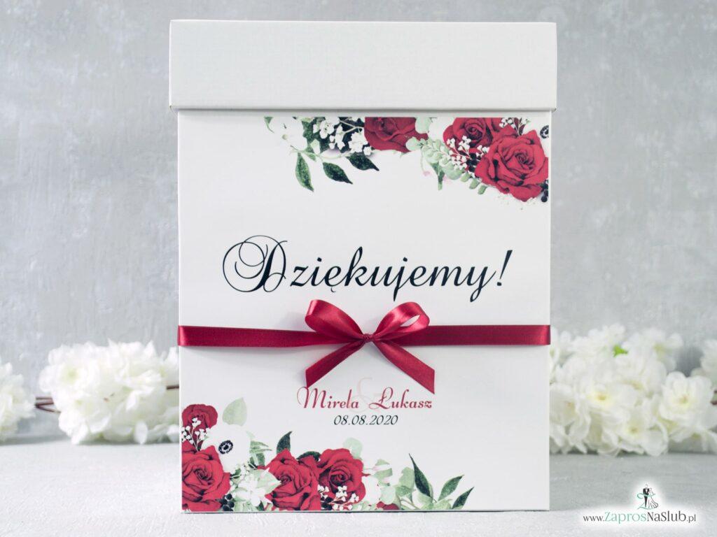 Pudełko na koperty z czerwonymi różami i białymi makami PNK-38-01
