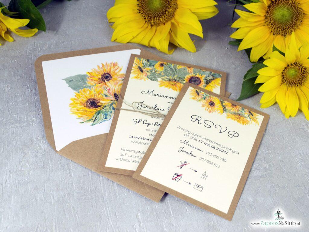 Rustykalne zaproszenia słoneczniki na ślub, eko ZAP-133-1