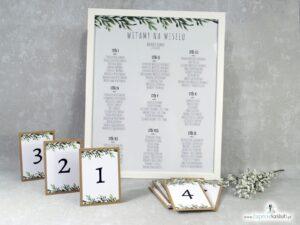 Plan stołów w stylu rustykalnym z zielonymi liśćmi. PSD-111